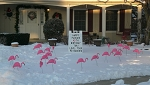 A-Frame Sign with Flamingos